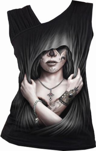 SPIRAL DIRECT DEAD LOVE Gathered Shoulder Slant Vest Top//Dead//Gothic//Sweet