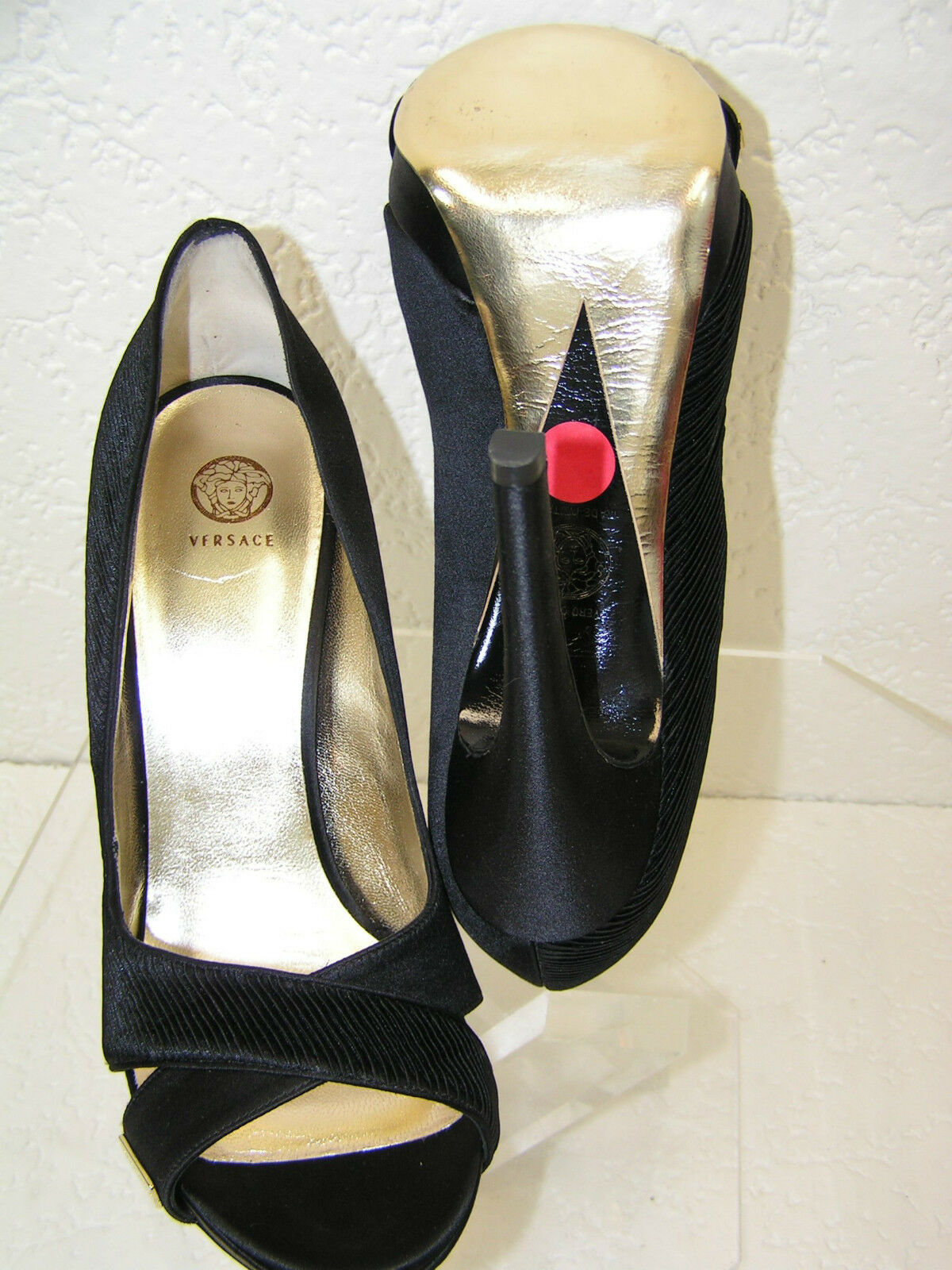 Nuevo en Caja Versace negro terciopelo Plisse noche vestido vestido vestido de salón con Plataforma 39.5 9.5 81e249