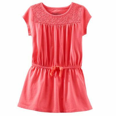 New OshKosh Bright Coral Eyelet Front Knit Cotton Dress  5 6 7 8 10 12 Kid NWT