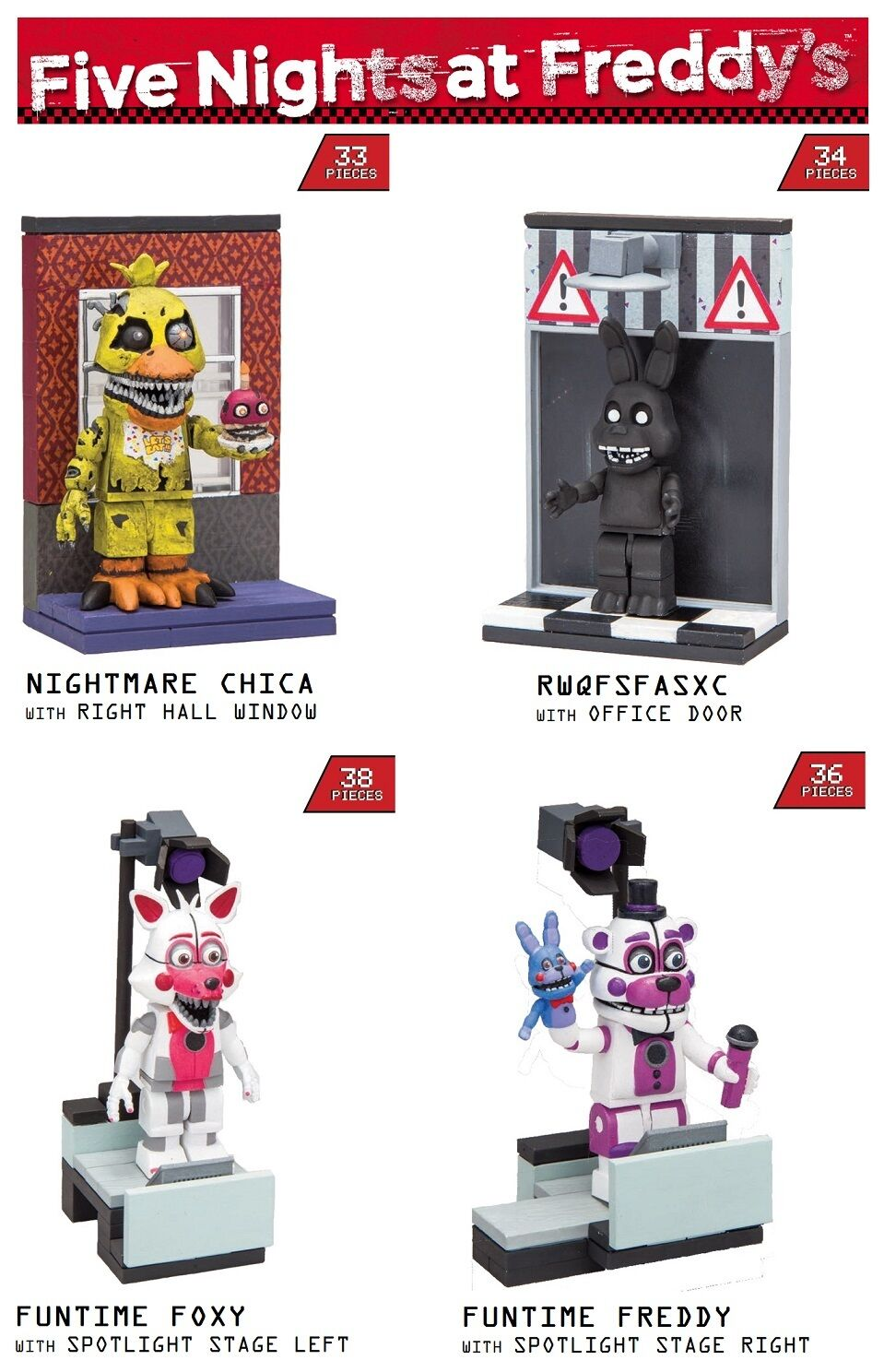 McFarlane Toys Five Nights At Frotdy's Series 2 Micro Construction Set of 4 NEW