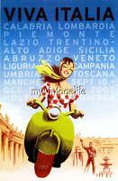Vintage Italian Travel Poster Viva Italia, Italy Fabric Block