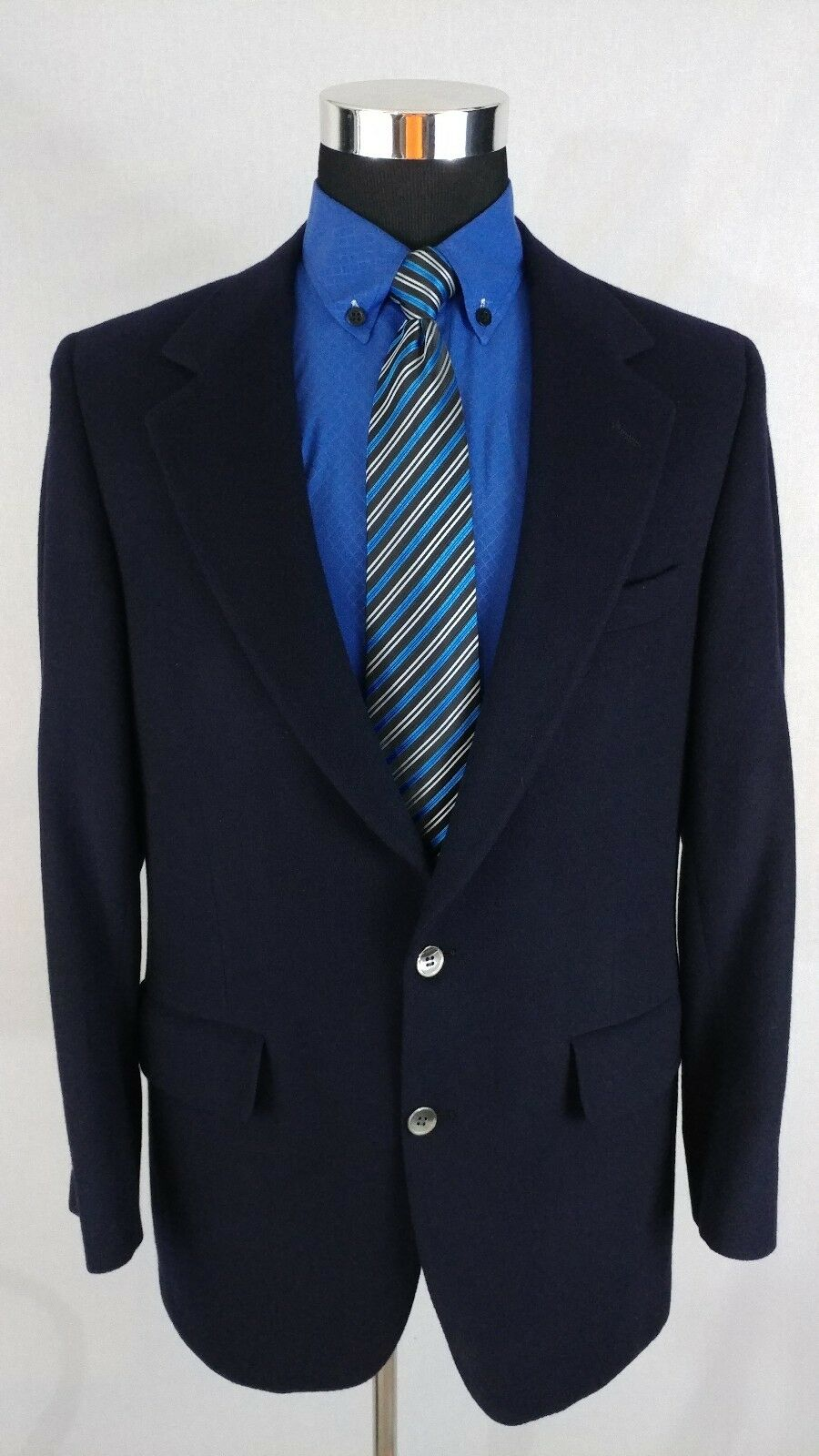 BILL BLASS USA  Herren Navy Blau Pure 100% Cashmere Blazer Sport Coat 2Button 40L R