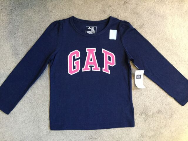 GAP-NAVY BLUE LONG SLEEVE T.SHIRT WITH BRIGHT PINK GAP LOGO ACROSS FRONT 3y-BNWT