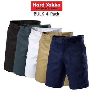 Mens-Hard-Yakka-Generation-Gen-Y-Cotton-Cargo-Drill-Shorts-4PK-Work-Tough-Y05500