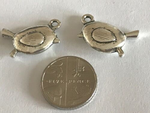 Tibetan Silver Robin Charms Argent Antique Noël Hiver Robin Red Breast *