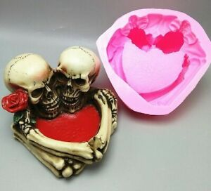 3D Skull Flowerpot Silicone Mould Chocolate Sugarcraft Clay Candle Mold DIY