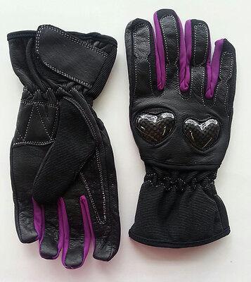 Women/'s Motorcycle Gloves Leather Pink /& Black Carbon Fiber Heart Knuckles