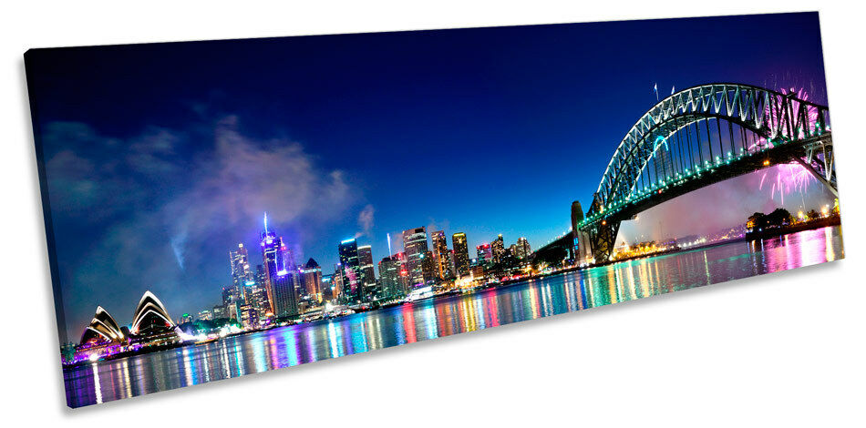 Sydney Skyline Fireworks Picture PANORAMA CANVAS WALL ART Print