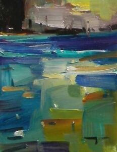 JOSE-TRUJILLO-Original-OIL-PAINTING-MODERN-Fauvism-Expressionism-RIVER-WATER