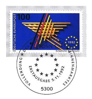 Brd 1992: Europäischer Binnenmarkt Nr 1644 Mit Sauberem Bonner Sonderstempel 1a!