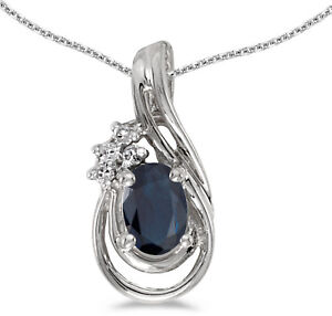 14k-White-Gold-Oval-Sapphire-And-Diamond-Teardrop-Pendant-Chain-NOT-included
