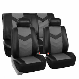 Complete-PU-Leather-Car-Seat-Covers-Set-Gray-Black-For-Car-SUV-Truck