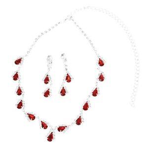 cc0bb09c87cc Detalles de Juego de joyas para mujer Aretes collar de cristal perlas de  lagrima rojo P4C3
