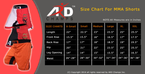 ARD Pro MMA Fight Shorts UFC Cage Fight Grappling Muay Thai Boxing R/&B XS-3XL