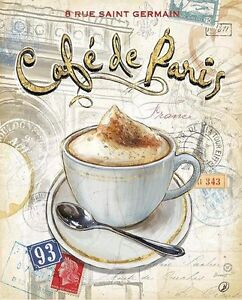 Chad Barrett: Café Paris Fertig-Bild 24x30 Wandbild Küche Kaffee ...