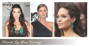 Kenneth-Jay-Lane-Emerald-Green-Crystal-Teardrop-Clip-Earring-NEW