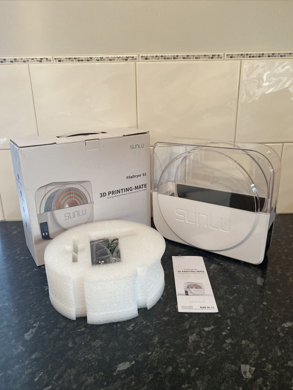 SUNLU FilaDryer S1 3D Printing Mate Drying While Printing New Boxed UK Plug