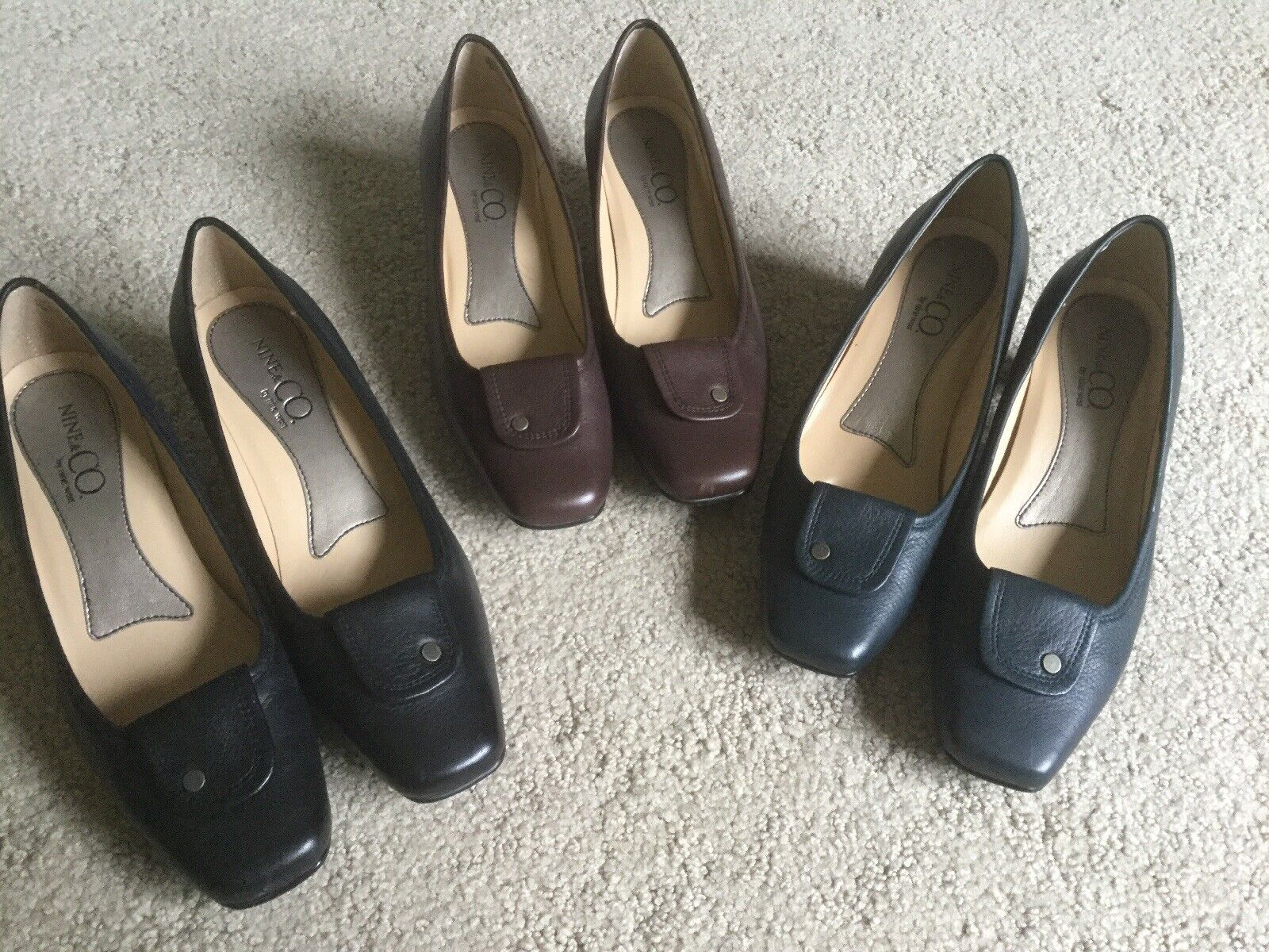 Peu porté  Lot 6 noir marron en cuir bleu talon carré Pompe Nine West nclucio