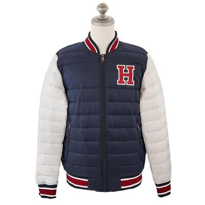 NEW Tommy Hilfiger Mens Navy H Patch Quilted Puffer Varsity Jacket Men's XL XXL | eBay