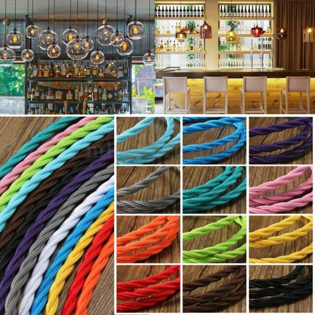 1m Vintage Colored Twist Braided Fabric Flex Cable Wire Cord Electric Light Lamp