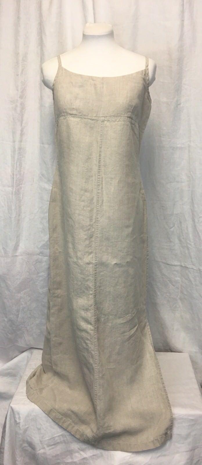 Empire Waist Natural Linen Maxi Dress Size 9 Sleeveless
