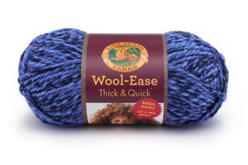 1 Skein Lion Brand Yarn 641-530 Wool-Ease Thick /& Quick Bonus Bundle Acai