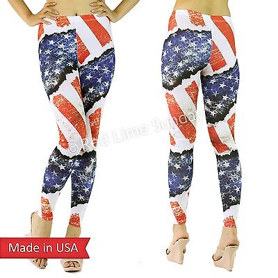 American US Flag Red Blue Stars n Stripes Weathered Print Leggings Tight Pants
