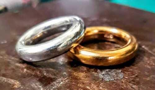 Anello argento 925 donna fascione fede fedone tipo Dodo pomellato rodio gioielli