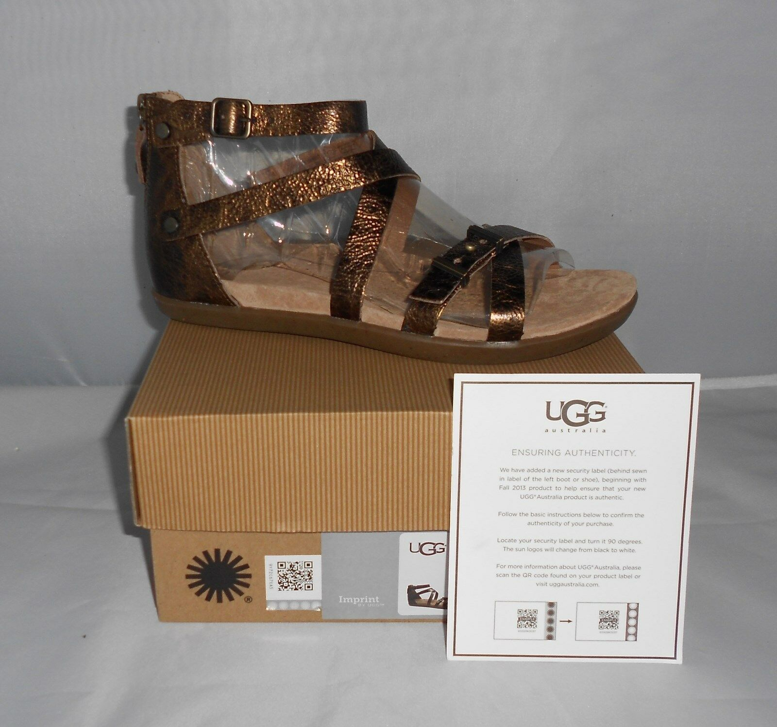UGG NŐI CHERIE GOLD PONY BROWN BŐR GLADIATOR SANDALS MÉRET 8 NEW IN BOX