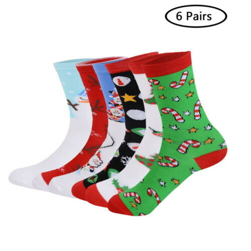 6-12Paar Damen Junge Mädchen Weihnacht Socken Kurzsocken Xmas Baumwolle GS