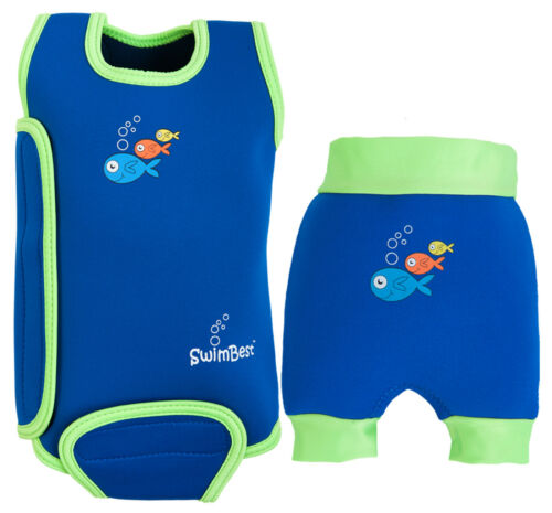 SAVE £/'s* Cute Fish Logo Girls/&Boys SwimBest Baby Wetsuit /& Swim Nappy Set