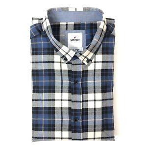 Soviet-Mens-Flannel-Shirt-Blue-Check-Long-Sleeve-Button-Down-Collar-Size-XL