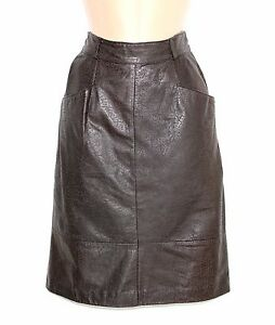 Women-039-s-Vintage-High-Waist-Brown-Patterned-100-Leather-Skirt-Size-UK4-UK6-W24-034