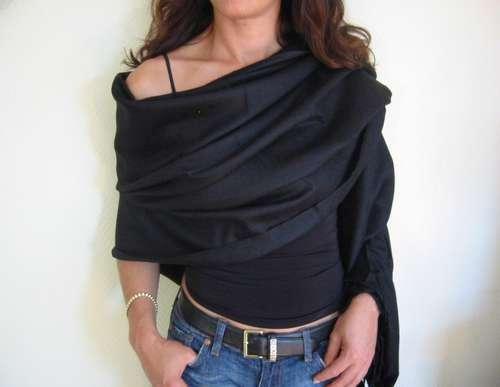 Black 100/% Cashmere Pashmina Shawl 100x200  Wrap throw foulard Gift