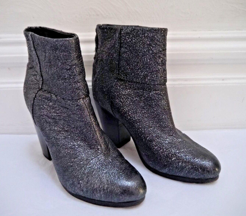 fino al 60% di sconto RAG & BONE Newbury pewter metallic crackle leather leather leather avvioies ankle stivali Dimensione 37.5  più economico