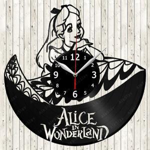 Alice in Wonderland Cartoon Vinyl Record Wall Clock Decor Handmade 1925