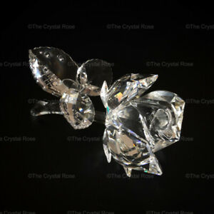 RARE-Retired-Swarovski-Crystal-Clear-Rose-174956-Mint-Boxed