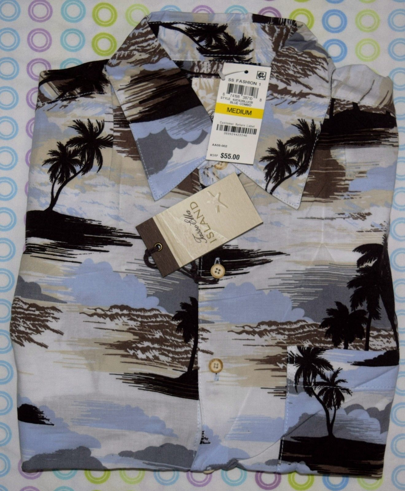 NWT TASSO ELBA ISLAND MEN'S SHORT SLEEVE TROPICAL PRINT SHIRT blueE COMBO MEDIUM