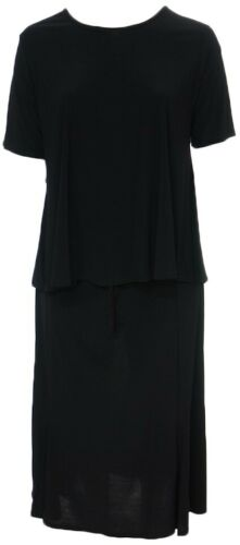 Womens Size 20 22 New Plain Black Short Sleeve Swing Longline Top /& Skirt Suit