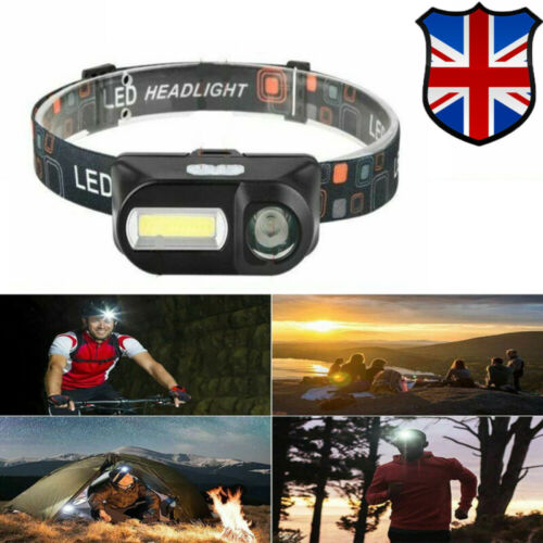 USB Rechargeable COB LED Headlamp 6 Modes Head Light Torch Flashlight Outdoor UK