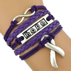 Image Is Loading Cancer Awareness Purple Ribbon Bracelet Pancreatic