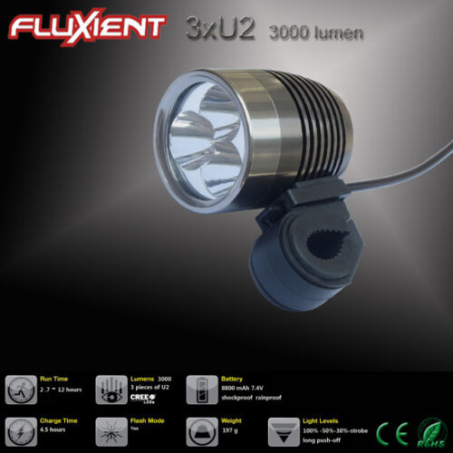 Bicycle Light Fluxient 3000 Lumen 3XU2 LED Rechargeable EXTREME Mountain Bike