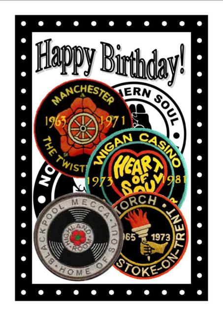 Northern Soul - Birthday Card (Patches) - Gloss Finish - Brand New / GIFTS
