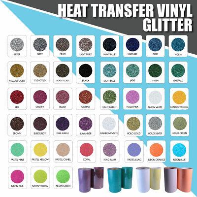 "Heat Transfer Vinyl Glitter HTV Sheets T-Shirt 20/"" x 12/"" Wide Iron On Heat Press"
