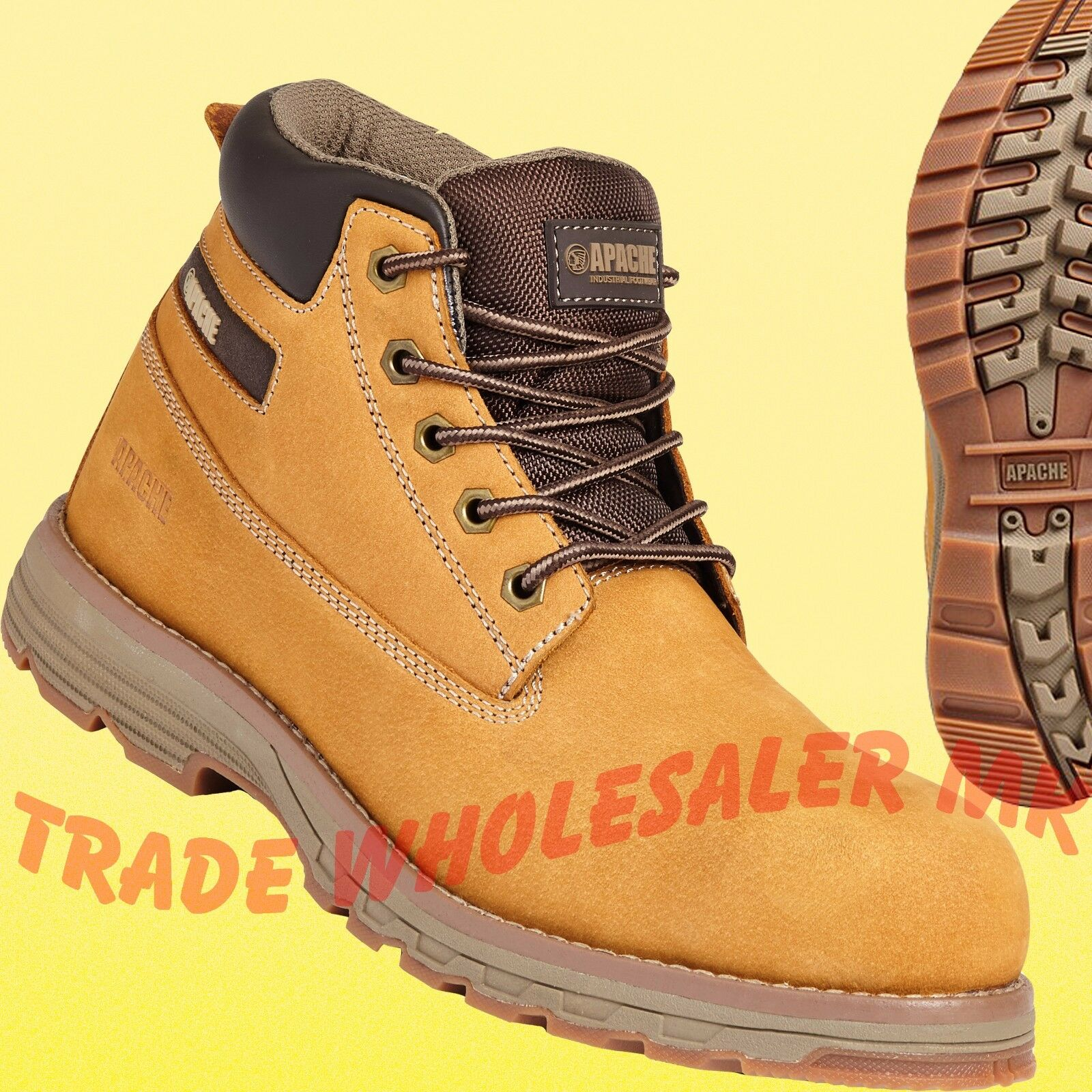 Apache Safety Boots Lightweight Aluminium Safety Toecap Composite midsole Honey