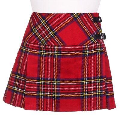 Ladies Royal Stewart Tartan Scottish Micro Mini Billie Pleated Kilt W26-42in