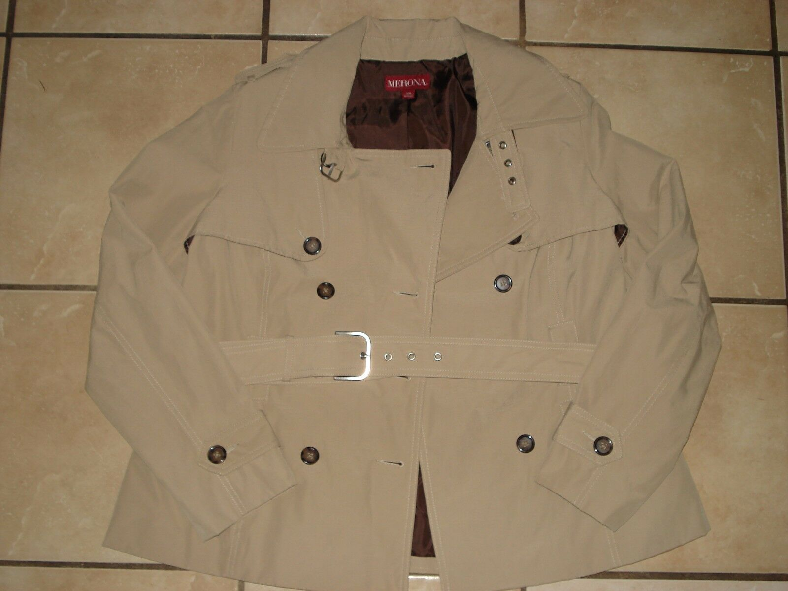 Merona Women Plus Curvy Size XXL 20  Khaki Short Trench Coat - Lined and Belted