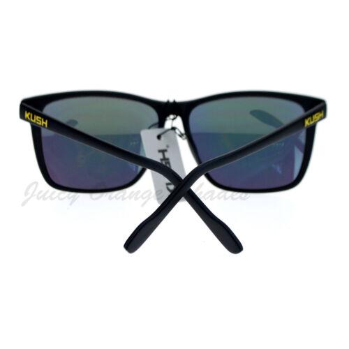 KUSH Sunglasses Matte Black Multicolor Mirror Lens Thin Square Frame Unisex