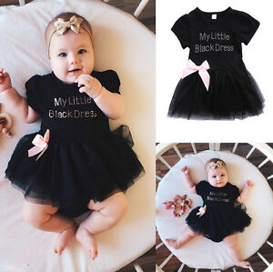 ddaea2e14ab1 Baby Girls Infant Toddler Bowknot Black Dress Tutu Tulle Princess ...