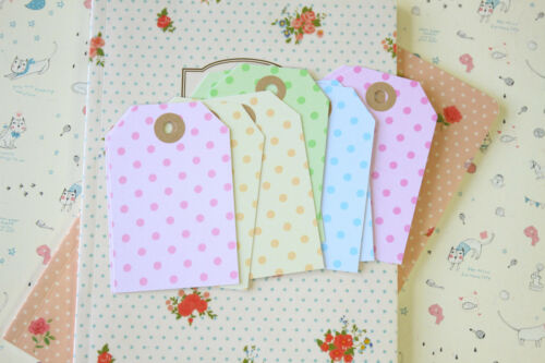 Pastel Dot Luggage Tags 20pc wedding craft giftwrapping gift tag price jar label